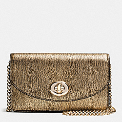 COACH CLUTCH CHAIN WALLET IN METALLIC PEBBLE LEATHER - LIGHT GOLD/GOLD - F53589