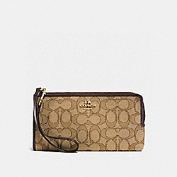 COACH ZIPPY WALLET IN SIGNATURE - LIGHT GOLD/KHAKI/BROWN - F53601