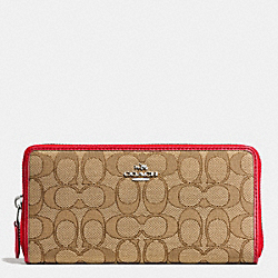 COACH ACCORDION ZIP WALLET IN SIGNATURE - SILVER/KHAKI/TRUE RED - F53602