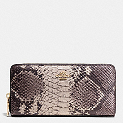 COACH ACCORDION ZIP WALLET IN PYTHON EMBOSSED LEATHER - LIGHT GOLD/GREY MULTI - F53604