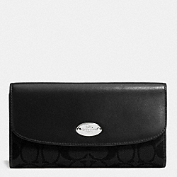 COACH CHECKBOOK WALLET IN SIGNATURE - SILVER/BLACK/BLACK - F53615