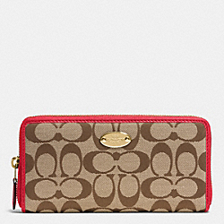COACH ACCORDION ZIP WALLET IN SIGNATURE - IMITATION GOLD/KHAKI/CLASSIC RED - F53618