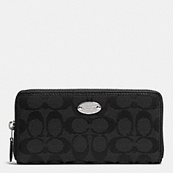 COACH ACCORDION ZIP WALLET IN 12CM SIGNATURE - SILVER/BLACK/BLACK - F53618