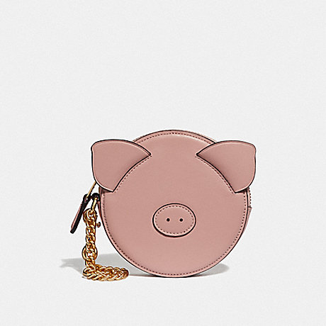 COACH LUNAR NEW YEAR PIG COIN CASE - PINK/IMITATION GOLD - F53619