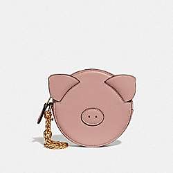 LUNAR NEW YEAR PIG COIN CASE - PINK/IMITATION GOLD - COACH F53619