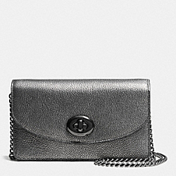 COACH CLUTCH CHAIN WALLET IN METALLIC CAVIAR CALF LEATHER - ANTIQUE NICKEL/GUNMETAL - F53628