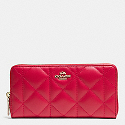 ACCORDION ZIP WALLET IN QUILTED LEATHER - f53637 - IMITATION GOLD/CLASSIC RED