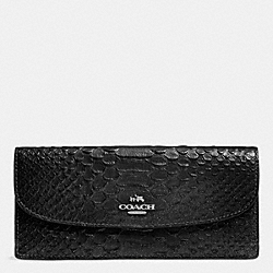 COACH SOFT WALLET IN METALLIC SNAKE EMBOSSED LEATHER - SILVER/GUNMETAL - F53641