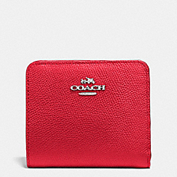 COACH SMALL WALLET IN COLORBLOCK LEATHER - SILVER/TRUE RED/ORANGE - F53649