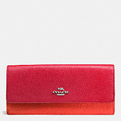 COACH SOFT WALLET IN COLORBLOCK LEATHER - SILVER/TRUE RED/ORANGE - F53652