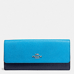 COACH SOFT WALLET IN COLORBLOCK LEATHER - SILVER/AZURE/NAVY - F53652