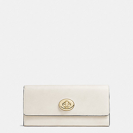COACH TURNLOCK SLIM ENVELOPE WALLET IN SMOOTH LEATHER - LIGHT GOLD/CHALK - f53663