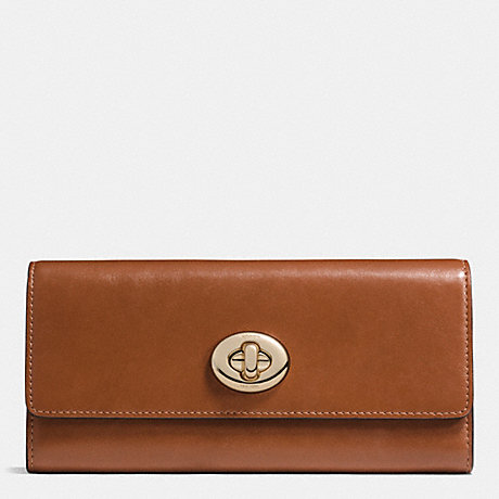 COACH TURNLOCK SLIM ENVELOPE WALLET IN SMOOTH LEATHER - LIGHT GOLD/SADDLE - f53663