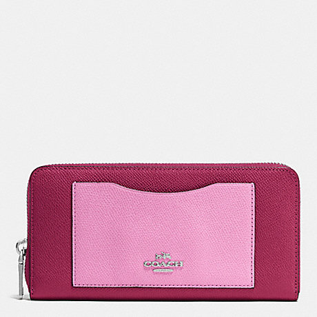 COACH ACCORDION ZIP WALLET IN COLORBLOCK CROSSGRAIN LEATHER - SILVER/CYCLAMEN/MARSHMALLOW - f53678