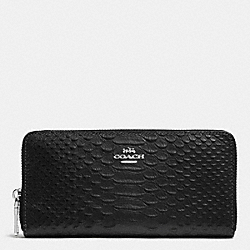 ACCORDION ZIP WALLET IN METALLIC SNAKE EMBOSSED LEATHER - SILVER/GUNMETAL - COACH F53681