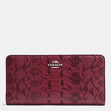 COACH SKINNY WALLET IN COLORBLOCK EXOTIC EMBOSSED LEATHER - SILVER/CYCLAMEN - f53684