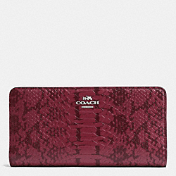 SKINNY WALLET IN COLORBLOCK EXOTIC EMBOSSED LEATHER - f53684 - SILVER/CYCLAMEN