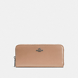 SLIM ACCORDION ZIP WALLET IN SMOOTH CALF LEATHER - DARK GUNMETAL/BEECHWOOD - COACH F53707