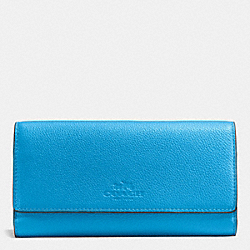 COACH TRIFOLD WALLET IN PEBBLE LEATHER - SILVER/AZURE - F53708