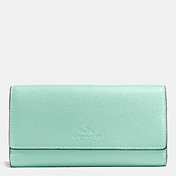 TRIFOLD WALLET IN PEBBLE LEATHER - SILVER/SEAGLASS - COACH F53708