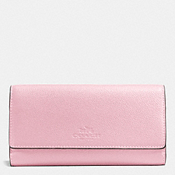TRIFOLD WALLET IN PEBBLE LEATHER - SILVER/PETAL - COACH F53708