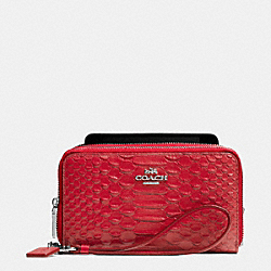 COACH DOUBLE ZIP PHONE WALLET IN SNAKE EMBOSSED LEATHER - SILVER/TRUE RED - F53733