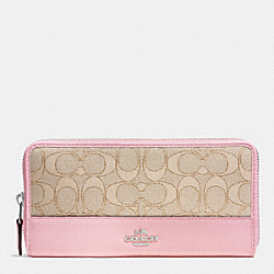 ACCORDION ZIP WALLET IN SIGNATURE COATED CANVAS - SILVER/LIGHT KHAKI/PETAL - COACH F53744