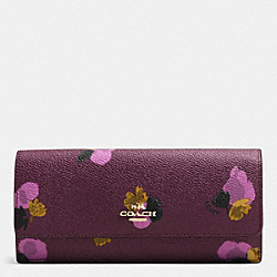 SOFT WALLET IN FLORAL PRINT COATED CANVAS - f53751 - LIGHT GOLD/PLUM MULTI