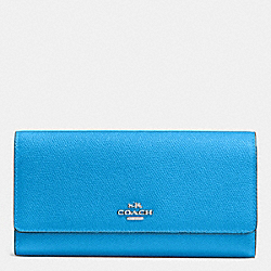 COACH TRIFOLD WALLET IN CROSSGRAIN LEATHER - SILVER/AZURE - F53754
