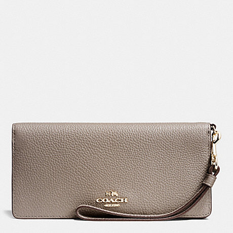 COACH SLIM WALLET IN COLORBLOCK LEATHER - LIGHT GOLD/FOG MULTI - f53759