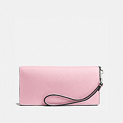 COACH SLIM WALLET IN PEBBLE LEATHER - SILVER/PETAL - F53767