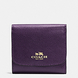COACH SMALL WALLET IN CROSSGRAIN LEATHER - IMITATION GOLD/AUBERGINE - F53768
