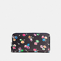 COACH ACCORDION ZIP WALLET IN WILDFLOWER PRINT COATED CANVAS - SILVER/RAINBOW MULTI - F53770