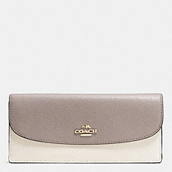 COACH SOFT WALLET IN COLORBLOCK CROSSGRAIN LEATHER - IMITATION GOLD/CHALK/GREY BIRCH - F53777