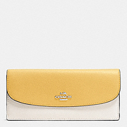 COACH SOFT WALLET IN COLORBLOCK CROSSGRAIN LEATHER - SILVER/CANARY MULTI - F53777