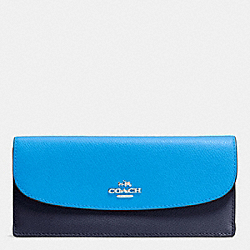 COACH SOFT WALLET IN COLORBLOCK CROSSGRAIN LEATHER - SILVER/AZURE MULTI - F53777