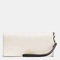 SLIM WALLET IN COLORBLOCK CROSSGRAIN LEATHER - IMITATION GOLD/CHALK/GREY BIRCH - COACH F53778