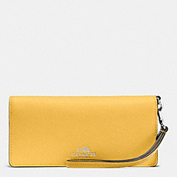 COACH SLIM WALLET IN COLORBLOCK CROSSGRAIN LEATHER - SILVER/CANARY MULTI - F53778