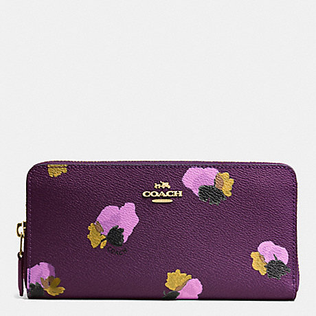 COACH ACCORDION ZIP WALLET IN FLORAL PRINT COATED CANVAS - LIGHT GOLD/PLUM MULTI - f53794