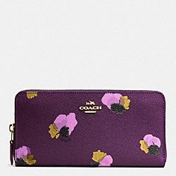 ACCORDION ZIP WALLET IN FLORAL PRINT COATED CANVAS - f53794 - LIGHT GOLD/PLUM MULTI