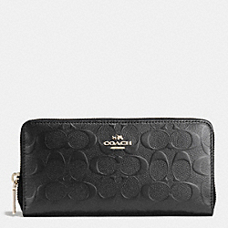 COACH ACCORDION ZIP WALLET IN DEBOSSED SIGNATURE LEATHER - IMITATION GOLD/BLACK - F53834