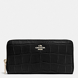 COACH ACCORDION ZIP WALLET IN CROC EMBOSSED LEATHER - IMITATION GOLD/BLACK - F53836