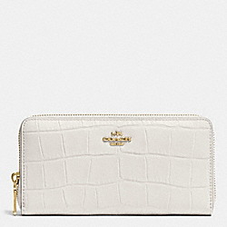 COACH ACCORDION ZIP WALLET IN CROC EMBOSSED LEATHER - IMITATION GOLD/CHALK - F53836