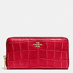 COACH ACCORDION ZIP WALLET IN CROC EMBOSSED LEATHER - IMITATION GOLD/CLASSIC RED - F53836