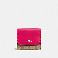 COACH SMALL WALLET IN SIGNATURE - IMITATION GOLD/KHAKI BRIGHT PINK - F53837