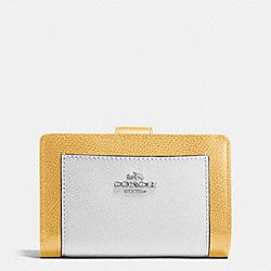 COACH MEDIUM CORNER ZIP WALLET IN COLORBLOCK CROSSGRAIN LEATHER - SILVER/CANARY MULTI - F53839