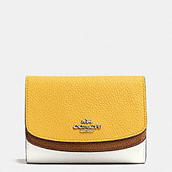 COACH MEDIUM DOUBLE FLAP WALLET IN COLORBLOCK LEATHER - SILVER/CANARY MULTI - F53852