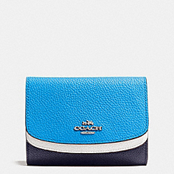COACH MEDIUM DOUBLE FLAP WALLET IN COLORBLOCK LEATHER - SILVER/NAVY MULTI - F53852