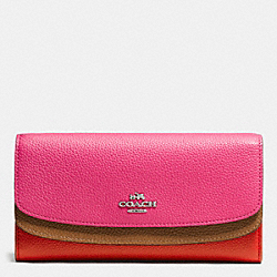 COACH DOUBLE FLAP WALLET IN COLORBLOCK LEATHER - SILVER/DAHLIA MULTI - F53858