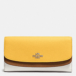 COACH DOUBLE FLAP WALLET IN COLORBLOCK LEATHER - SILVER/CANARY MULTI - F53858
